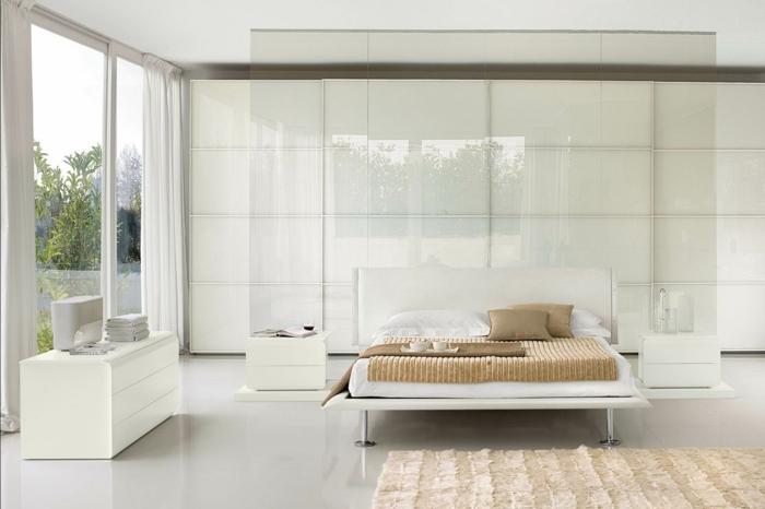 weißer kleiderschrank wohnideen schlafzimmer panoramafenster weißer boden