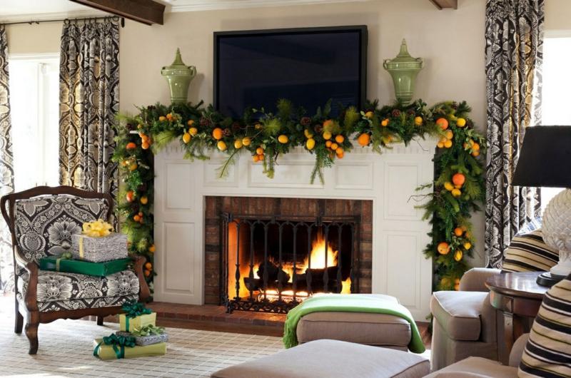 weihnachtliche Kaminsims Deko Ideen Wohnzimmer Gestaltung