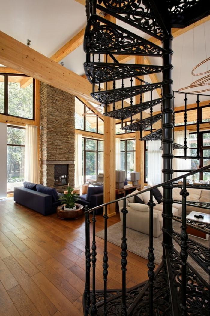 wendelltreppen design treppenstufen ornamente holzboden