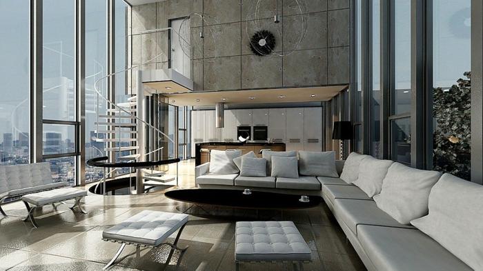 wendelltreppen wohnzimmer innenarchitektur coole bodenfliesen panoramafenster