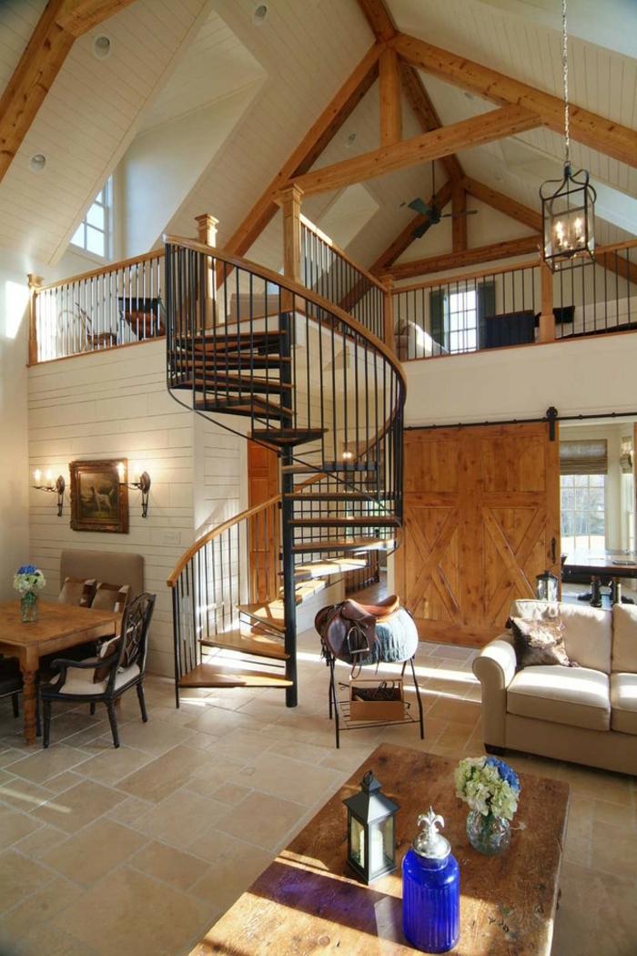 wendelltreppen wohnzimmer offener wohnplan rustikale elemente