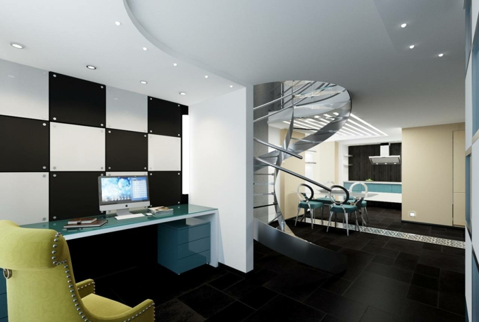 wendelltreppen wohnzimmer super modern schwarze bodenfliesen offener wohnplan