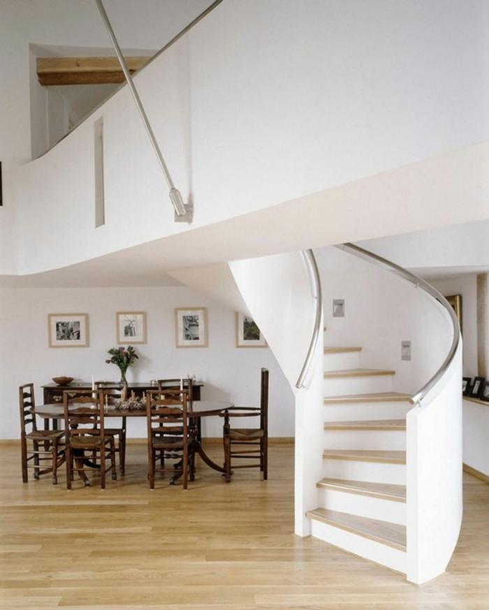wendeltreppen design innen beton weiß essbereich moderne innenarchitektur