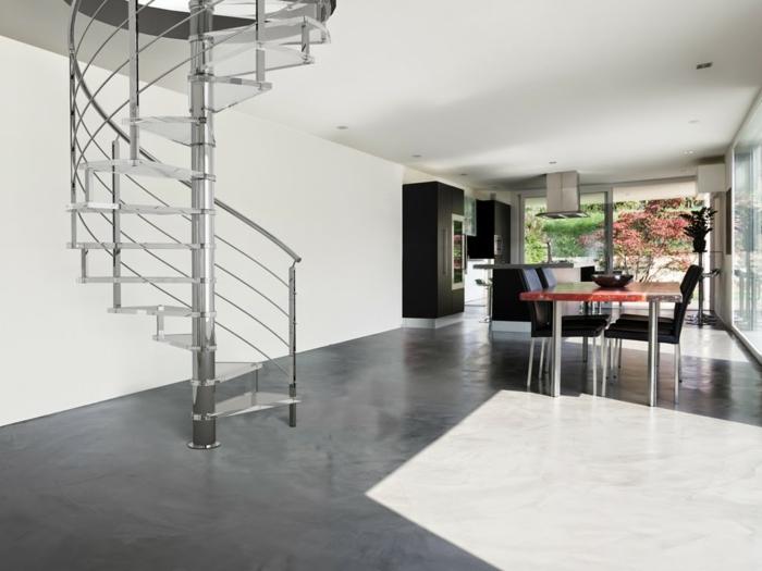 wendeltreppe innen design innenarchitektur ideen weißer teppich essbereich gestalten