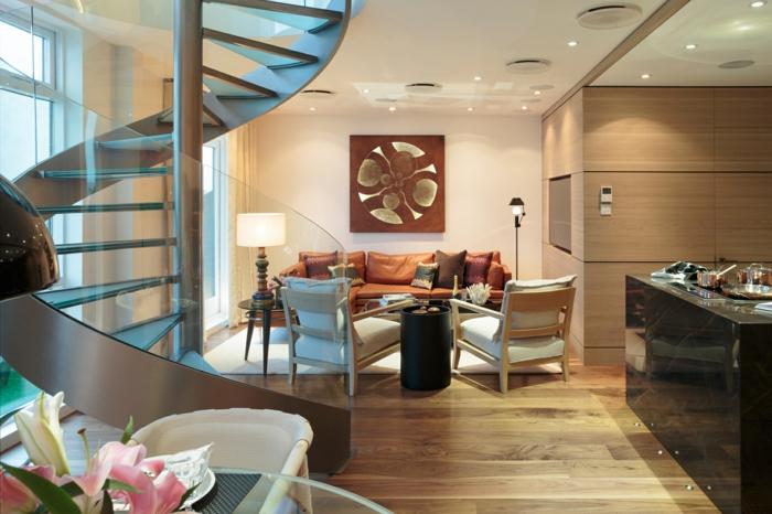 wendeltreppe innen design innetreppen gläsernes treppengeländer