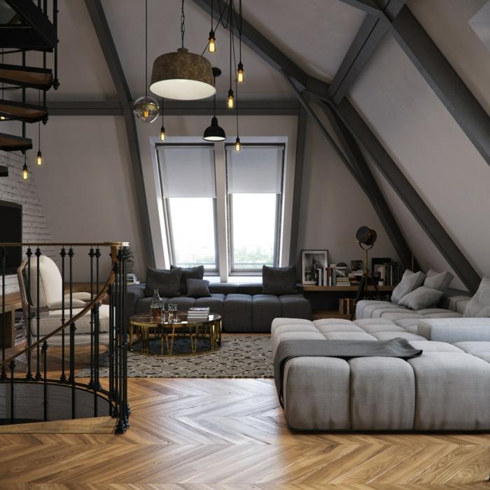 wendeltreppe innen design loft wohnung graue möbel beleuchtung