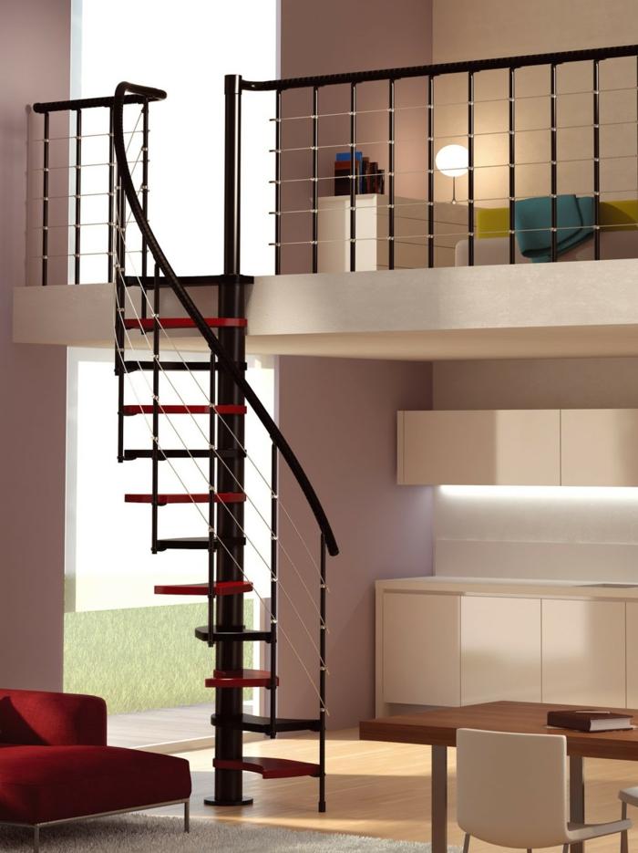 wendeltreppe innen design treppenstufen rot schwarz offener wohnplan