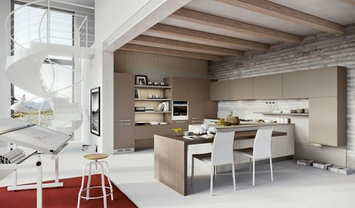 einrichtungsbeispiele wohnzimmer offener küche:wendeltreppe innen design weiß schick roter teppich küche