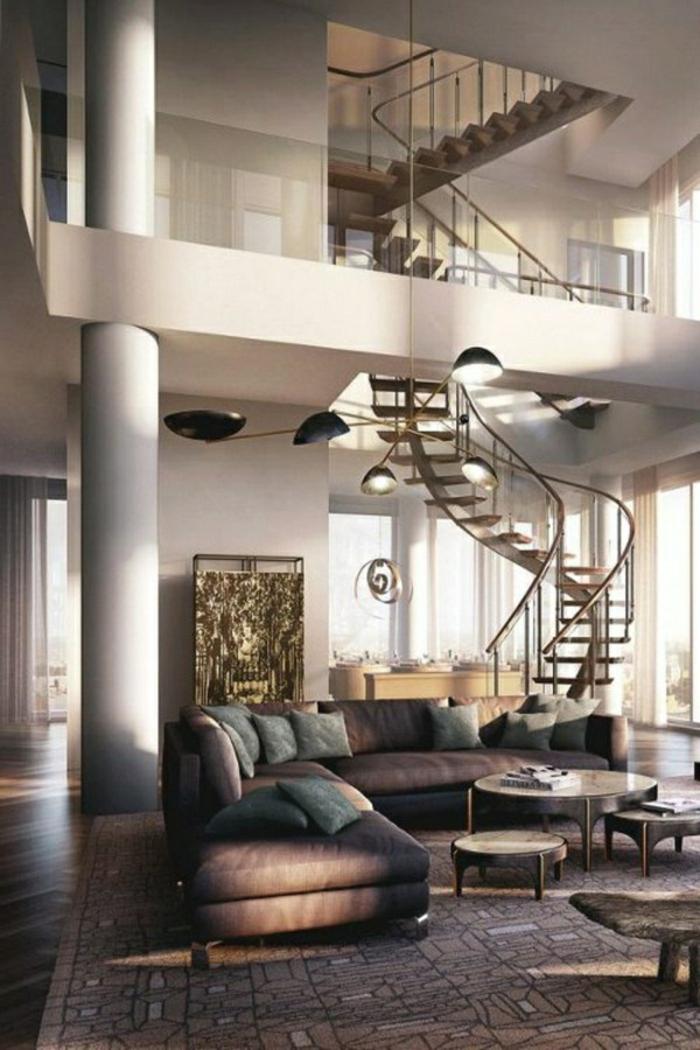 wendeltreppen design innen schickes wohnzimmer teppich wohnzimmerbeleuchtung