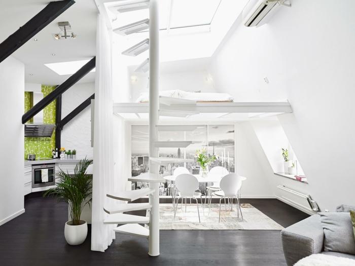 wendeltreppe innen weißes ambiente offener wohnplan