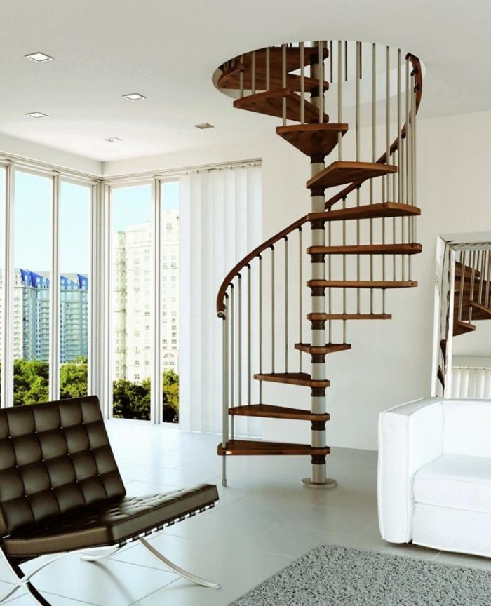 wendeltreppe innen wohnideen wohnzimmer panoramafenster retro sessel