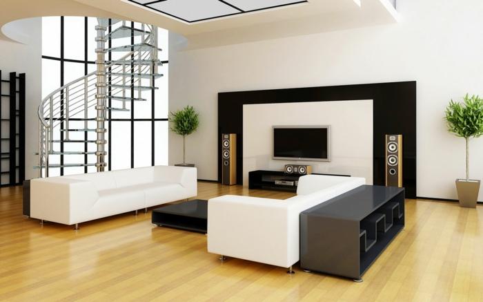 wendeltreppen design innen wohnzimmer einrichtungsideen weiße wohnzimmersofas