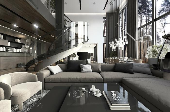 wendeltreppe innen wohnzimmer innenarchitektur luxuriöse innentreppen