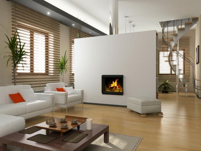 wendeltreppen design innen wohnzimmer kamin weiße sofas pflanzen