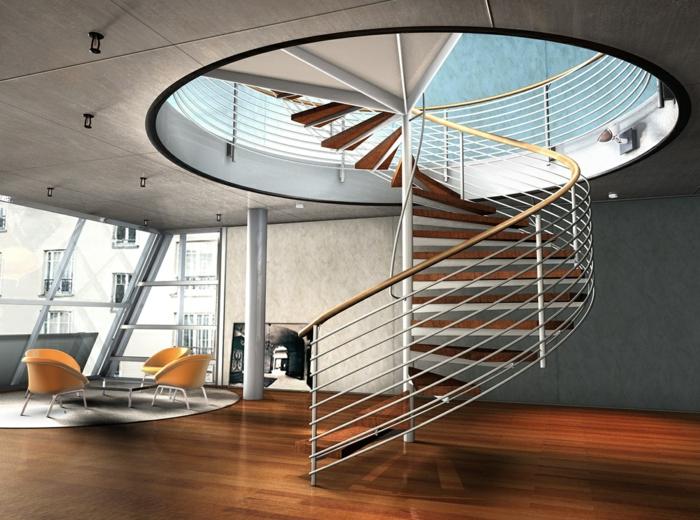 wendeltreppe innen wohnzimmer runder teppich deckenbeleuchtung
