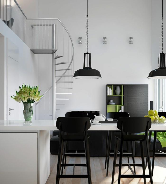 wendeltreppen design innentreppen metall küche schwarze einrichtung