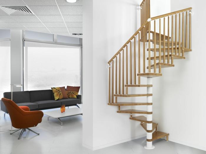 wendeltreppen design holz wohnideen weiße wände innenarchitektur