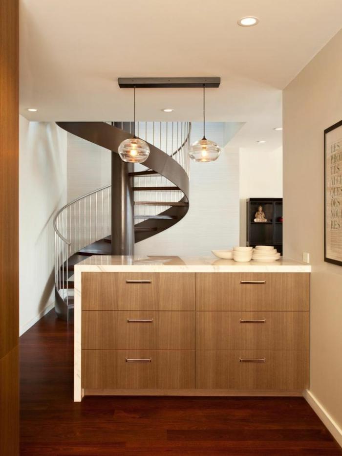 wendeltreppen design schick küche moderne innenarchitektur