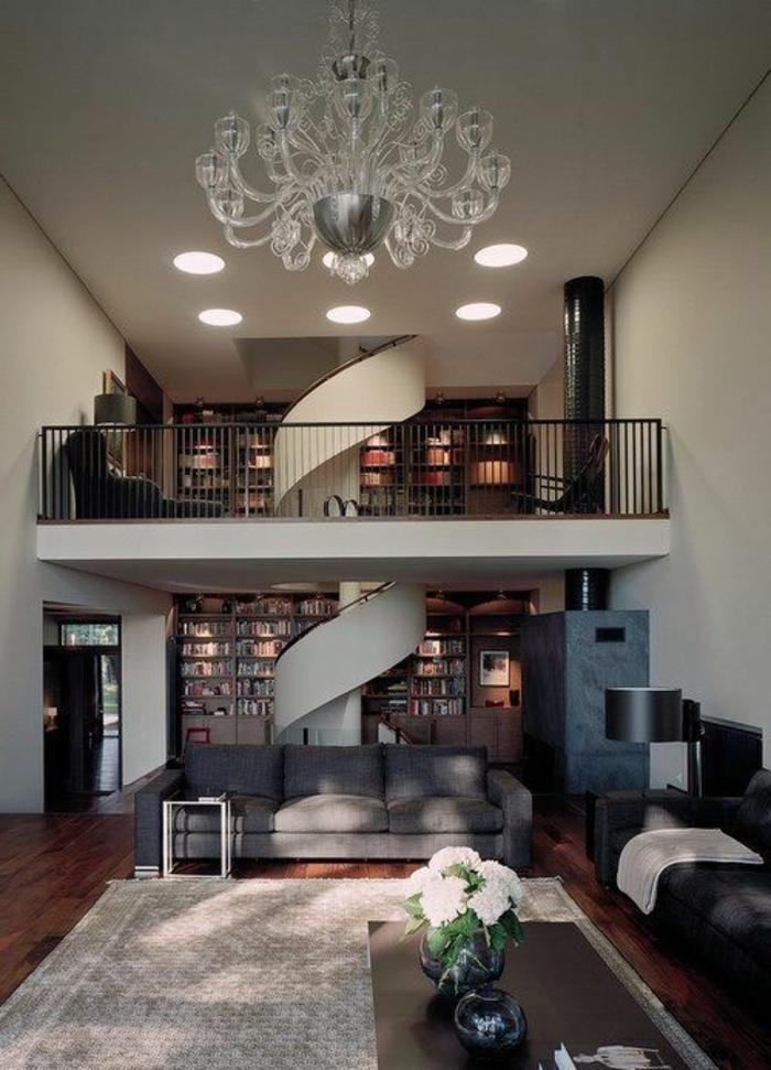 wendeltreppen design schick luxuriös wohnzimmer teppich graunuancen