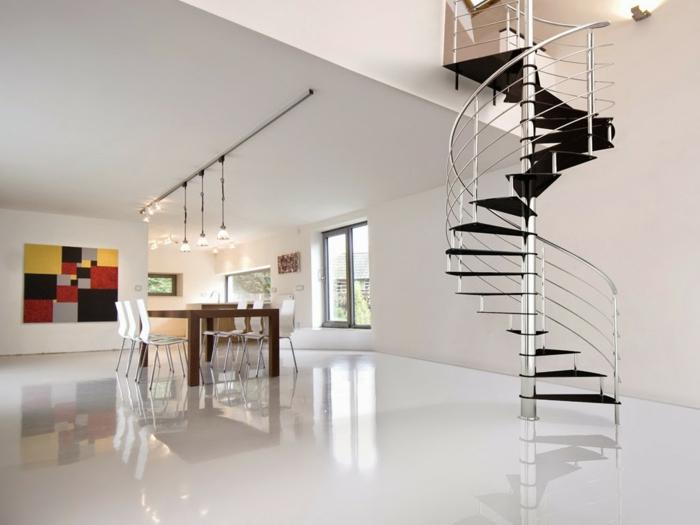 wendeltreppen design wohnideen innenarchitektur weißes ambiente