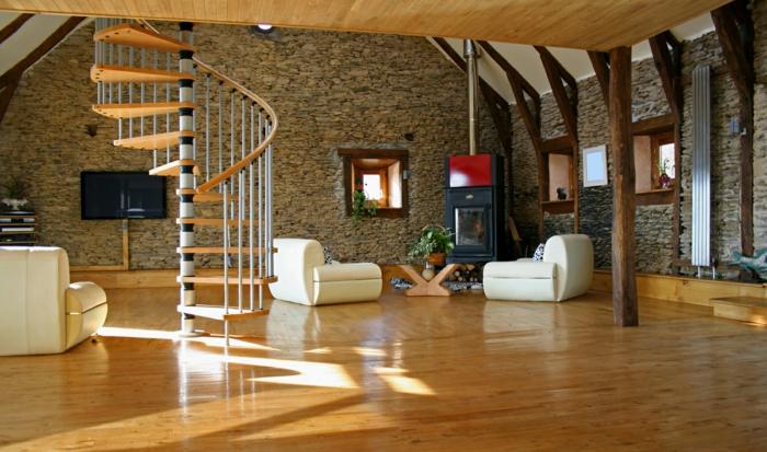 wendeltreppen design wohnzimmer holzboden steinwände pflanzen