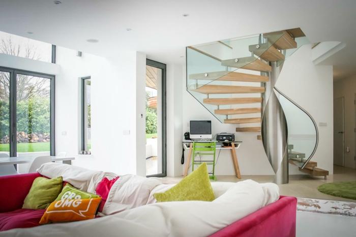wendeltreppen design wohnzimmer innenarchitektur frische akzente