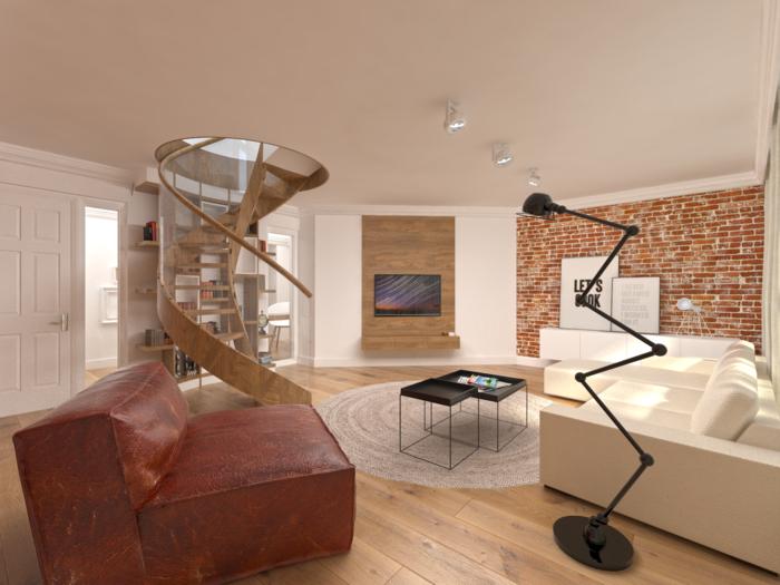 wendeltreppen design wohnzimmer innenarchitektur ziegelwand coole bodenlampe