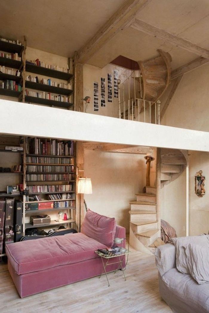 wendeltreppen holz rustikal wohnzimmer bibliothek