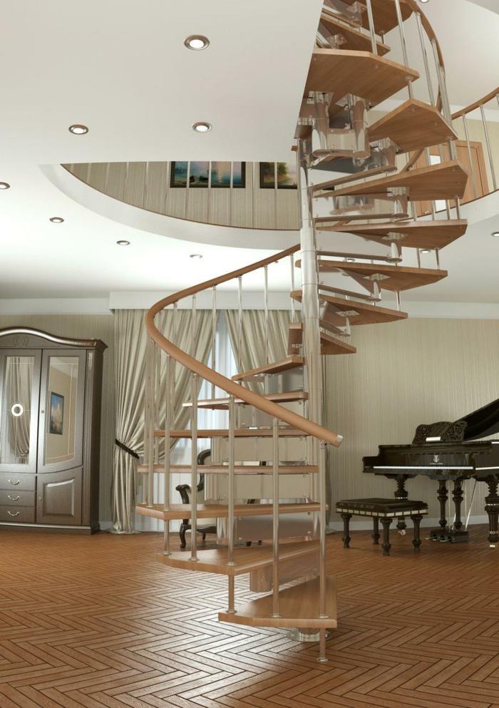 wendeltreppen innetreppen design wohnideen wohnzimmer klavier