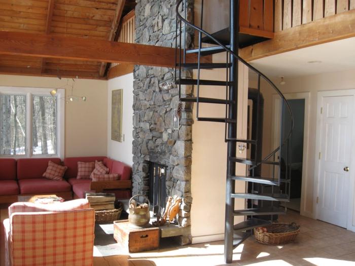 ... wohnzimmer:wendeltreppen ländliches wohnzimmer kamin steinwand