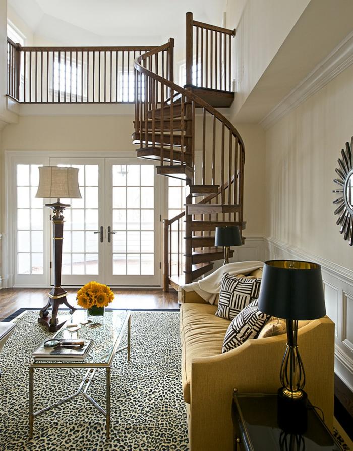 wendeltreppen wohnzimmer innenarchitektur gelbes sofa wohnzimmerteppich
