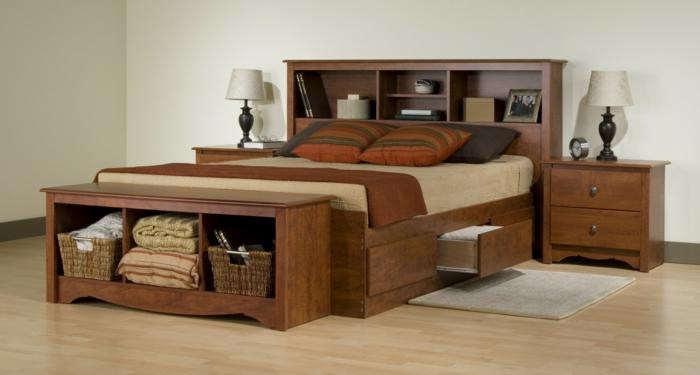 wohnideen schlafzimmer stauraumbett schlafzimmerbank nachttisch