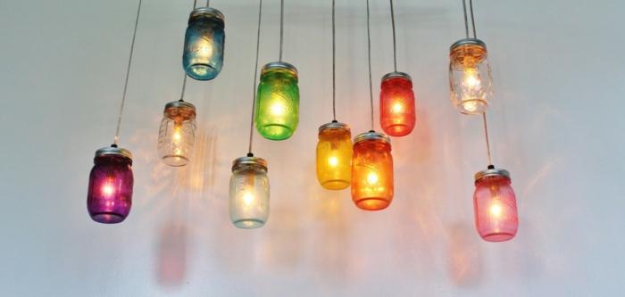 wohnideen selber machen pendelleuchten basteln glasgefäße einmachglas