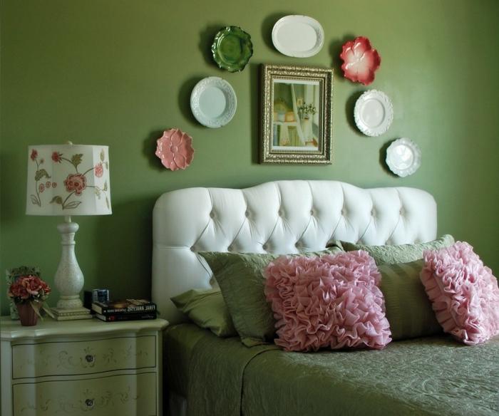 wohnideen zum selber machen wanddeko schlafzimmer grüne wand