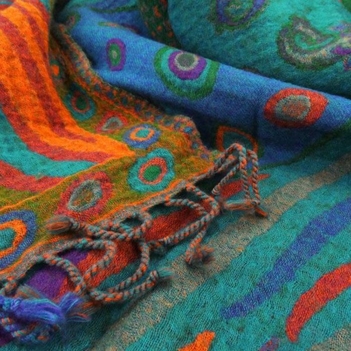 wolldecken plaid modern india türkis fair trade contigo