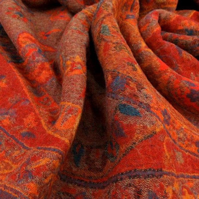 wolldecken plaid orient blazing red india fairtrade contigo