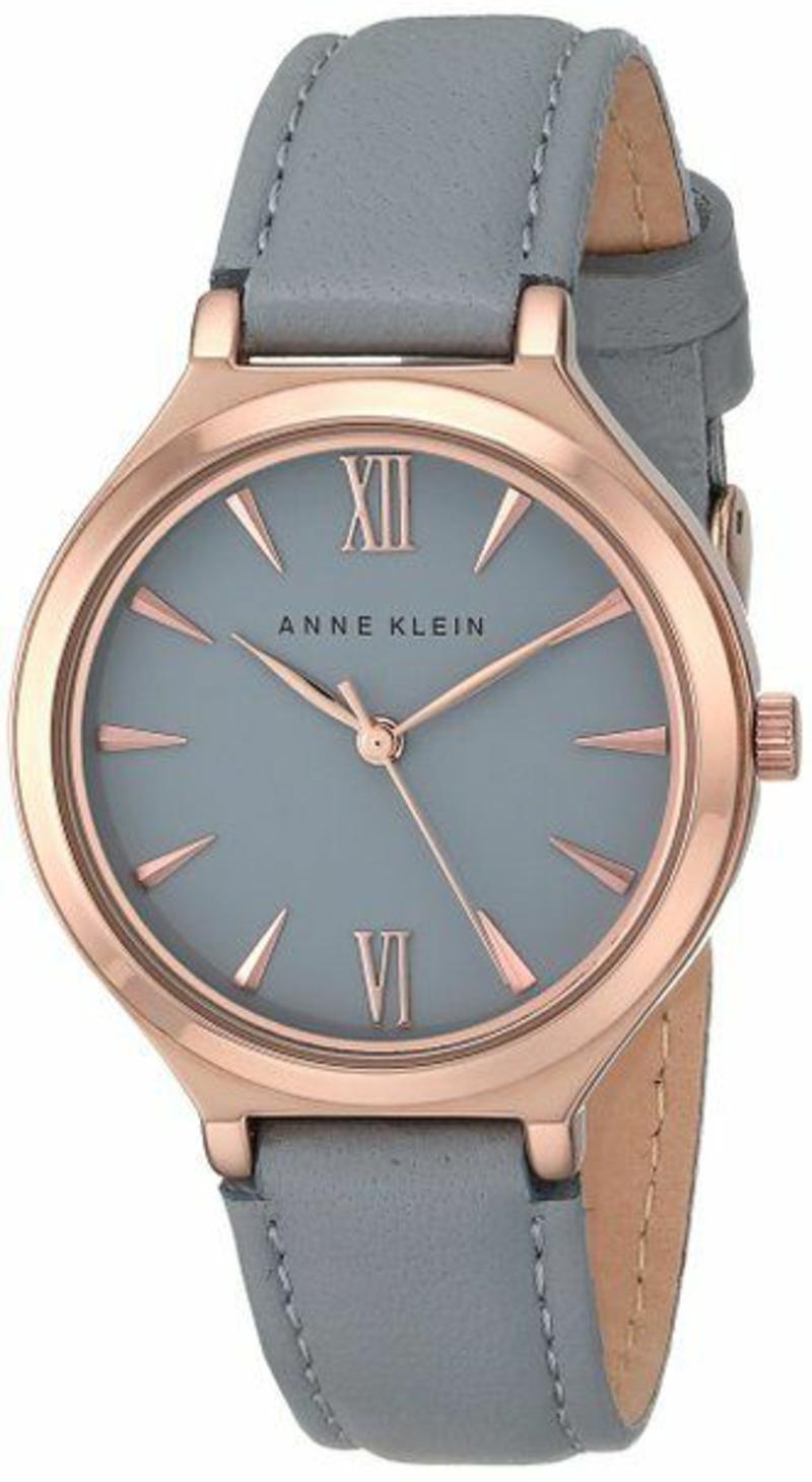 Anne Klein Damenuhren Design Leder Armbanduhr Damen grau