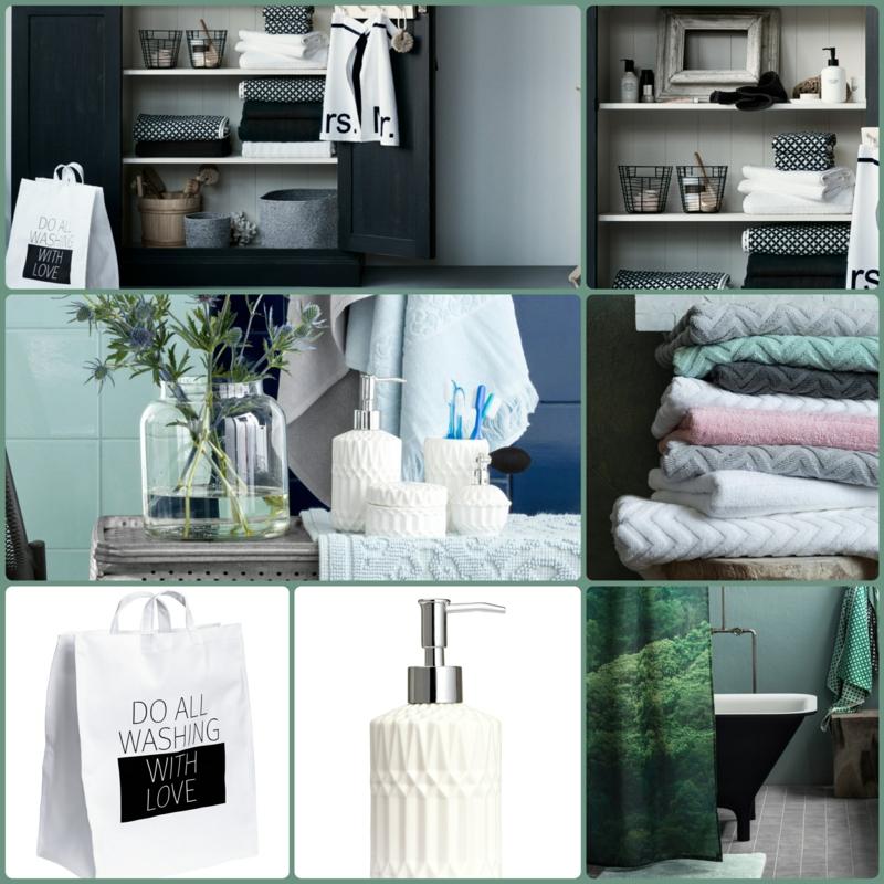 badaccessoires von h m home in den farben gr n und wei. Black Bedroom Furniture Sets. Home Design Ideas
