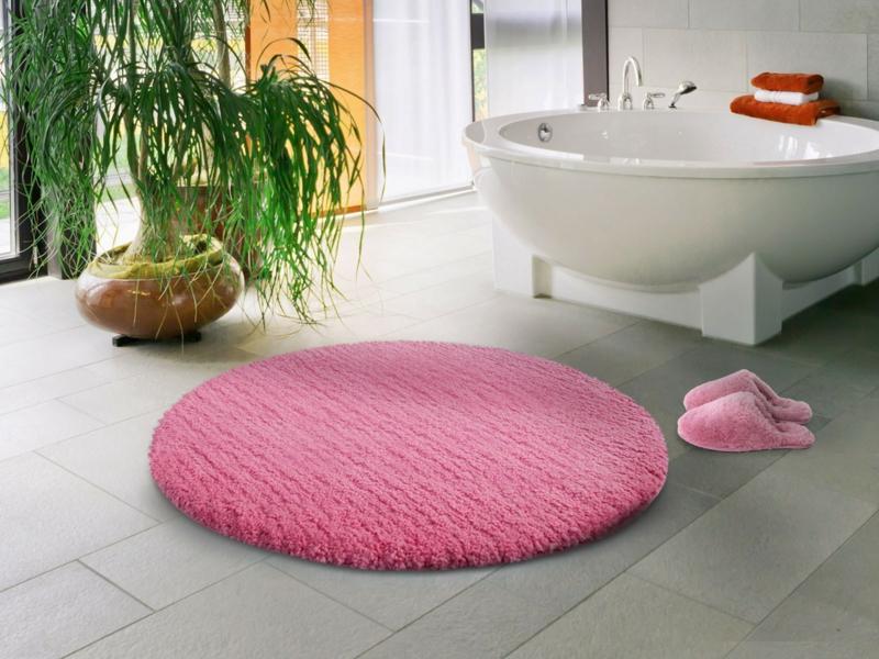 Badzubehör Badaccessoires Badezimmer einrichten Badvorleger rosa rund