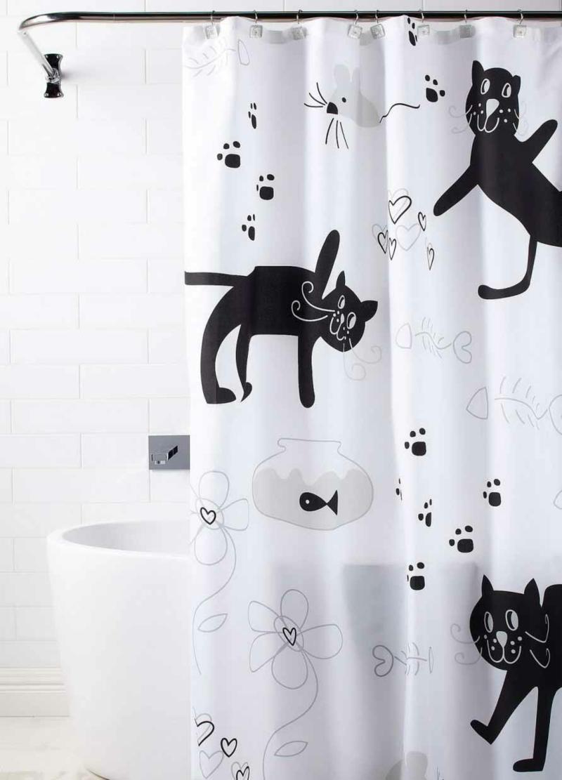 Badzubehör Badaccessoires Duschvorhang Katzen Badezimmer einrichten