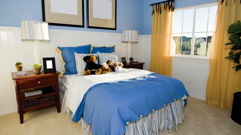 Bilder Kinderzimmer Junge Kindermöbel und Spielzeuge Wandfarbe Blau