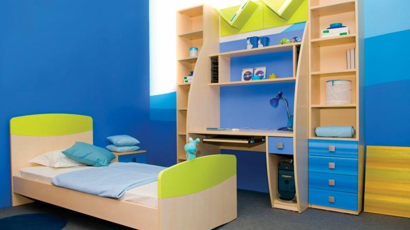 Bilder Kinderzimmer Junge Kindermöbel Wandfarbe Blau