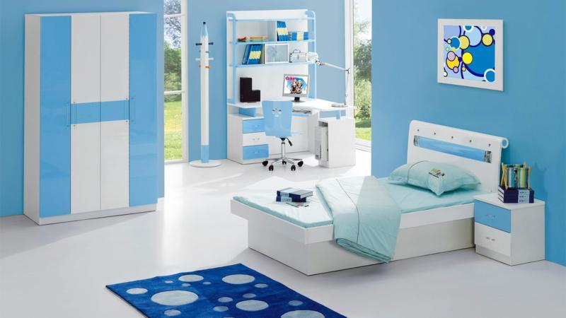 Bilder Kinderzimmer Junge Kindermöbel komplett Wandfarbe Blau