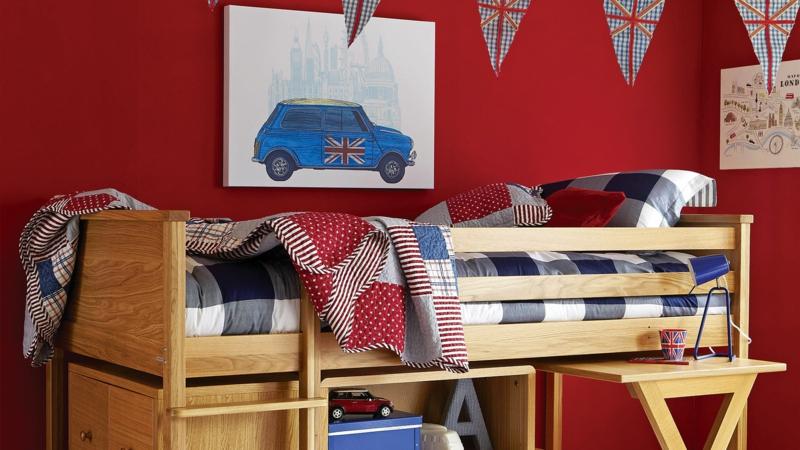 Bilder Kinderzimmer für Jungs Wandfarbe rot Wandgestaltungsideen