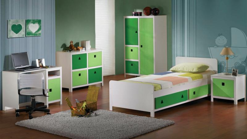 Bilder Kinderzimmer für Jungs grüne Farbakzente Kindermöbel