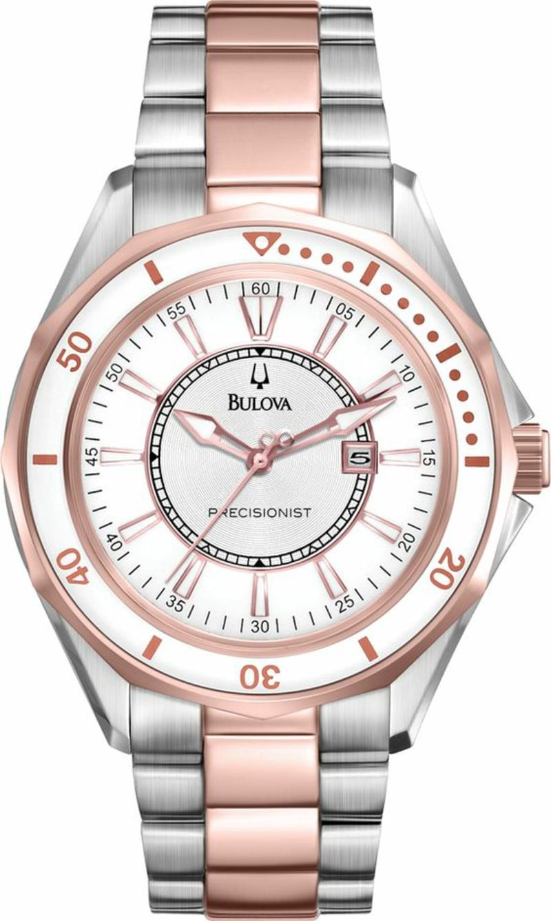 Bulova Damenuhren silver Design Leder Armbanduhr Damen
