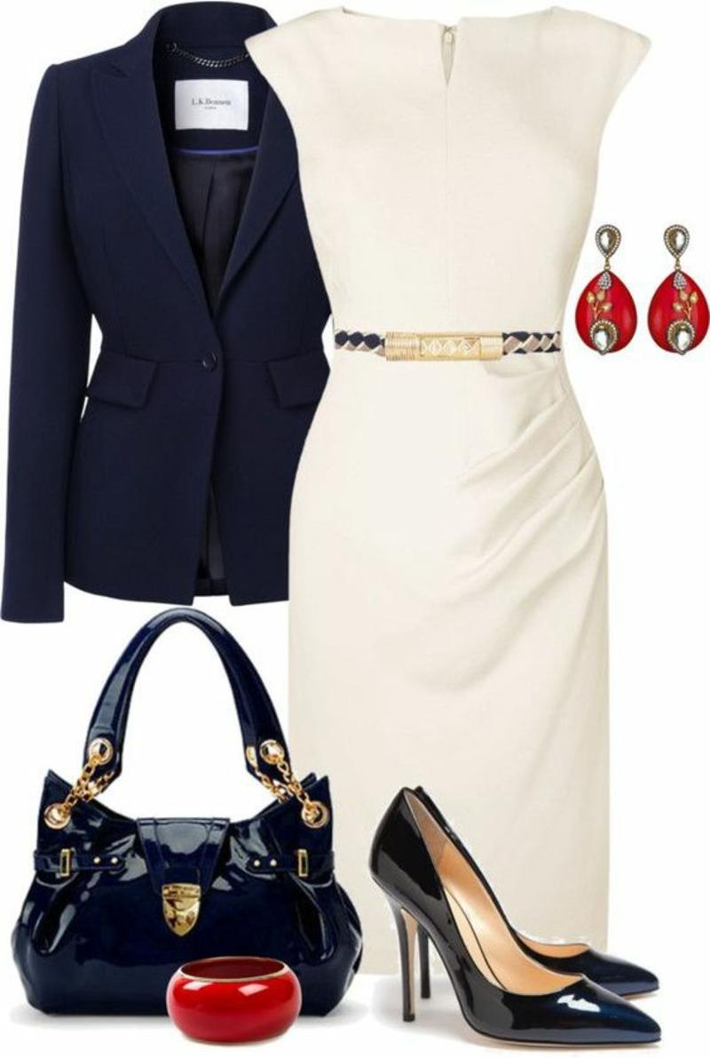 Business Look Frauen Damen Businessmode Outfits weißes Kleid knielang