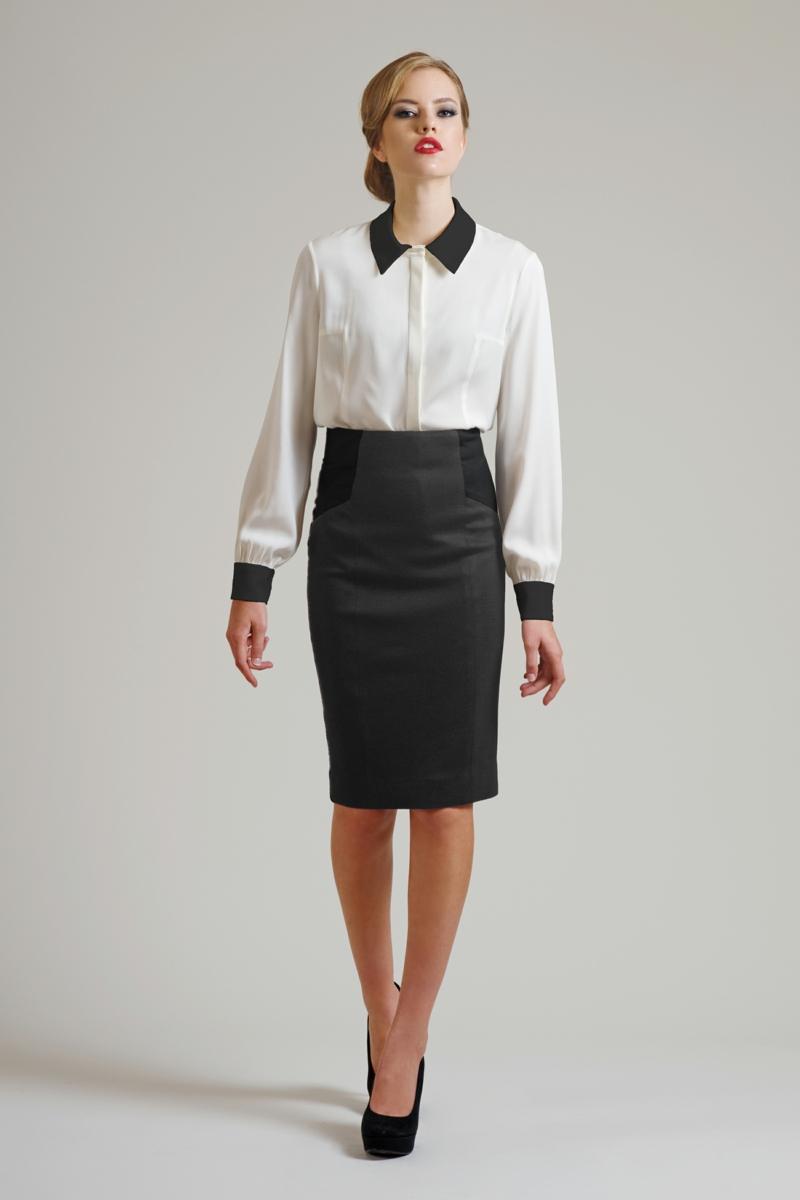 Business Look Frauen Damen Businessmode Rock knielang Hemd weiß