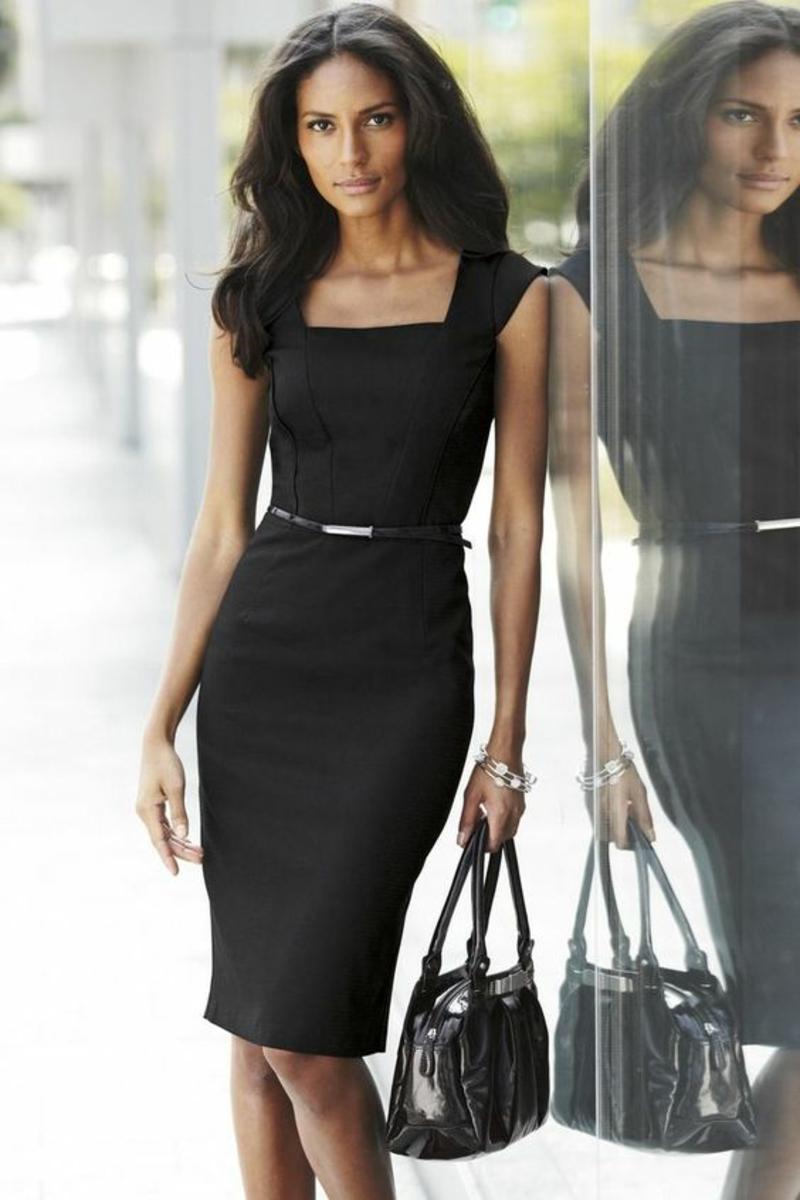 Business Look Frauen Etuikleid schwarz knielang