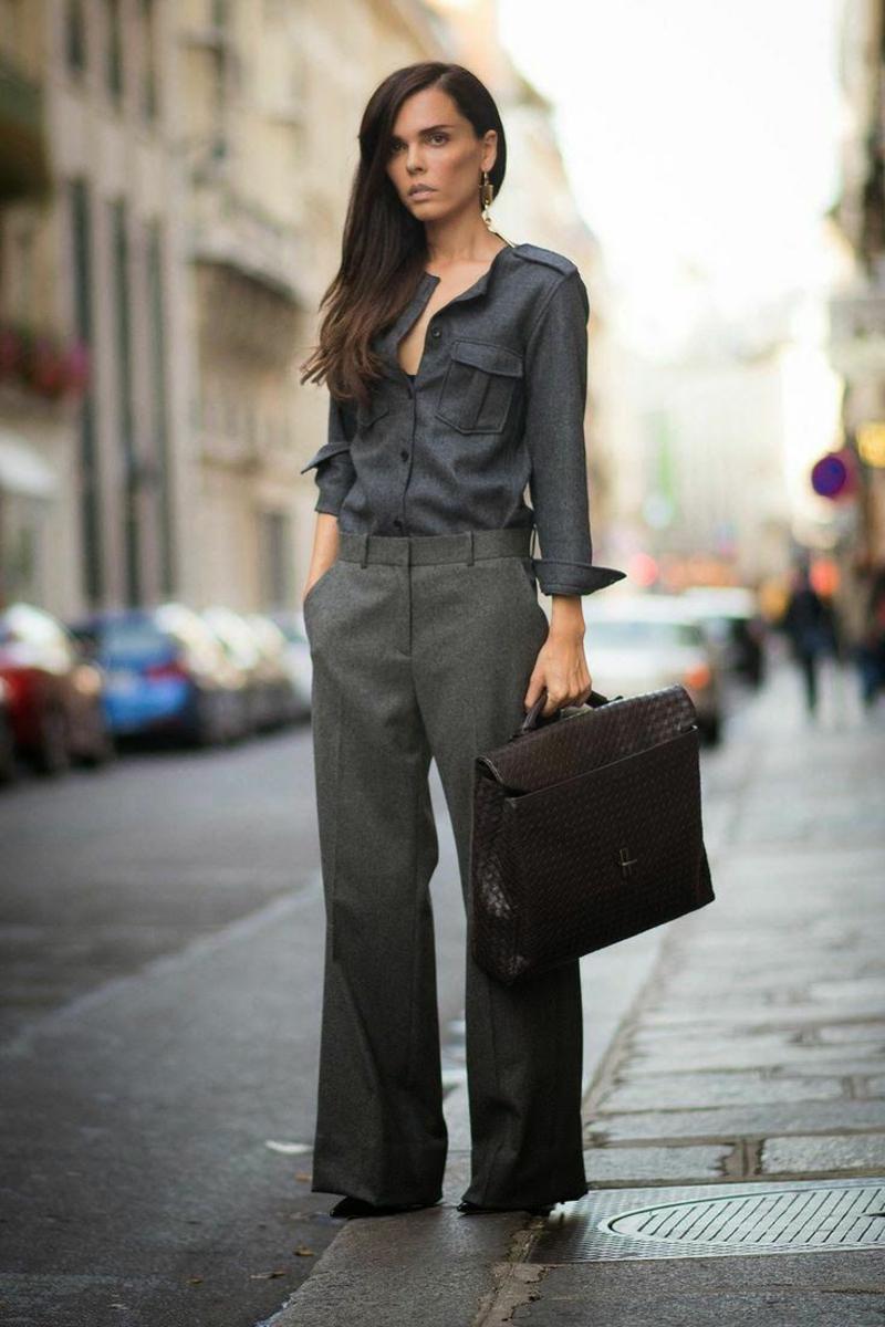 Business Look Frauen Hose Hemd Aktentasche